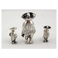 Sterling Silver 3pc Set, Pin & Earring - Vintage Mexico - Signed
