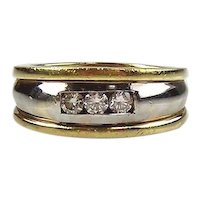 14kt Two-tone Gold Diamond Man's Ring