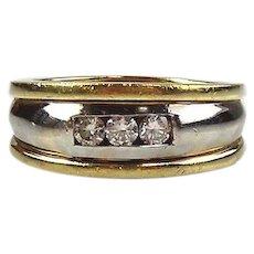 14kt Two-tone Gold Diamond Man's Ring