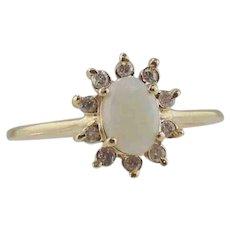 Opal & Diamond Ring 14kt Yellow Gold