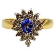 Tanzanite & Diamond Ladies  Cocktail Ring 14kt Two Tone Gold