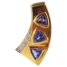 Tanzanite & Diamond  Pendant / Slide 14kt Yellow Gold