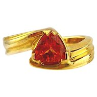 Garnet  Ring 14kt Yellow Gold , Spessartite