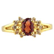 Garnet  And Diamond Ring 14kt Yellow Gold , Size 6
