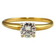 Diamond  Ring 14kt Two Tone Gold-Solitaire