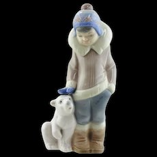 Lladro Figurine - Boy with Polar Bear Cub  #5238
