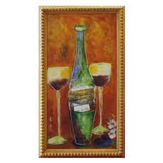 Burgundy For Two, Encaustic Painting