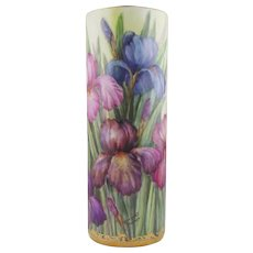 Hand Painted Porcelain Vase with Irises  by Surber