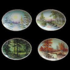 Hand Painted Porcelain Plates -4 Seasons  by Surber