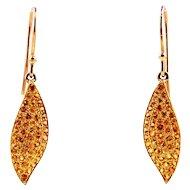 18kt Yellow Gold Earrings - Golden Sapphires