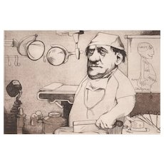 "Original Etching ""Surgeon"" by Charles Bragg-Satirical"