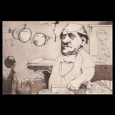 "Original Etching ""Surgeon"" by Charles Bragg-Satirical"