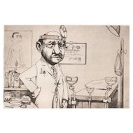 "Original Etching ""Urologist"" by Charles Bragg-Satirical"