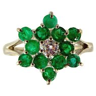 Emerald & Diamond Ring-10kt White Gold