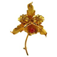 18kt Yellow Gold Brooch With Orange Sapphire