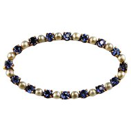 14kt Yellow Gold Sapphire & Seed Pearl Ladies Brooch-Circa 1890