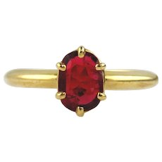Red Spinel Solitaire Ring 14kt Yellow Gold