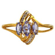 Tanzanite & Diamond Ring 18kt Yellow Gold