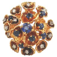 Sapphire & Diamond Ring 14kt Two-tone Gold