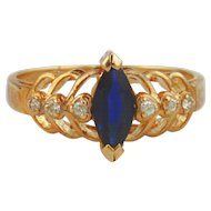 Sapphire & Diamond Ring 14kt Yellow Gold