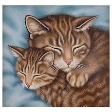 Cat and Kitten Original Art by Sue Wall