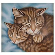 Original Acrylic Painting  by Sue Wall (Mother Cat and Kitten)