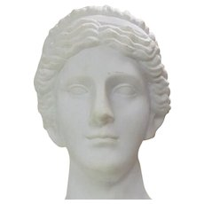 Hand Carved Carrara Marble Bust of a Greek Style Woman
