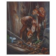 Twin Fawns- Original Watercolor Painting by Karen Lathem
