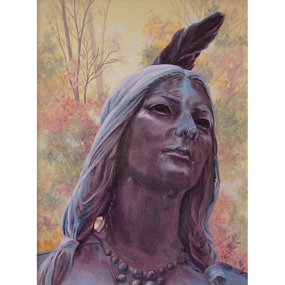 Beads Amp Feathers Pocahontas Original Acrylic Painting By