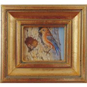 Momma Bluebird and Two Chicks - Original Miniature Oil Painting on Ivorine by Beverly Abbott