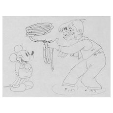 Mickey Mouse & Will Rogers, Production Pencil Drawing by Walt Disney Studios