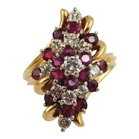 Ruby & Diamond Cluster Ring 14kt Two-tone Gold