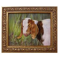 """Buttons (Boer Goat)"", Original Miniature Acrylic Painting by Catherine Girard"
