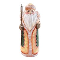 Russian Santa in Green & Gold - Hand Carved & Painted