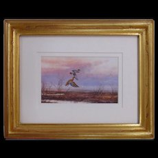 Miniature Watercolor Painting by Jeffrey Craven of Ducks