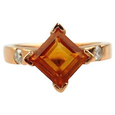 Citrine and Diamond Ring 14kt Rose Gold - Size 7 1/2