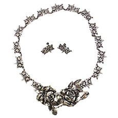 Margot de Taxco Sterling Silver Necklace, Earrings and Pin Set
