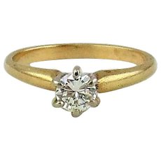 Diamond Engagement Ring 14kt Two Tone Gold