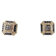14kt Yellow Gold Black & White Diamond Earrings