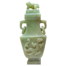 Chinese Nephrite Lidded Dragon Vase