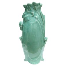 Ruffled Green Floral Vase by Weller