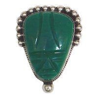 Vintage Mexican Pin with Carved Green Stone Face