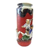 Japanese Pottery-Sumida Gawa Vase With Four Children Playing