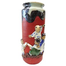 Japanese Pottery-Sumida Gawa Vase With Four Children Playing