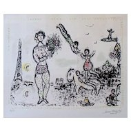 Marc Chagall Original Lithograph-Paris en Fete-Signed & Numbered in Pencil