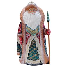 Russian Santa With Copper Trim- Hand Carved & Painted