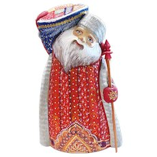 Russian Santa Carrying Blue Gift  Bag