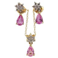 Pink Sapphire & Diamond Necklace with Earrings-14kt Yellow Gold
