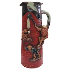 Japanese 19/20TH C Sumida Gawa Vase with Monkeys