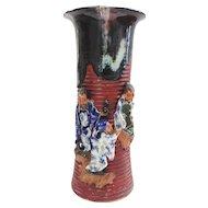 Japanese Pottery-Sumida Gawa Vase With Three Men